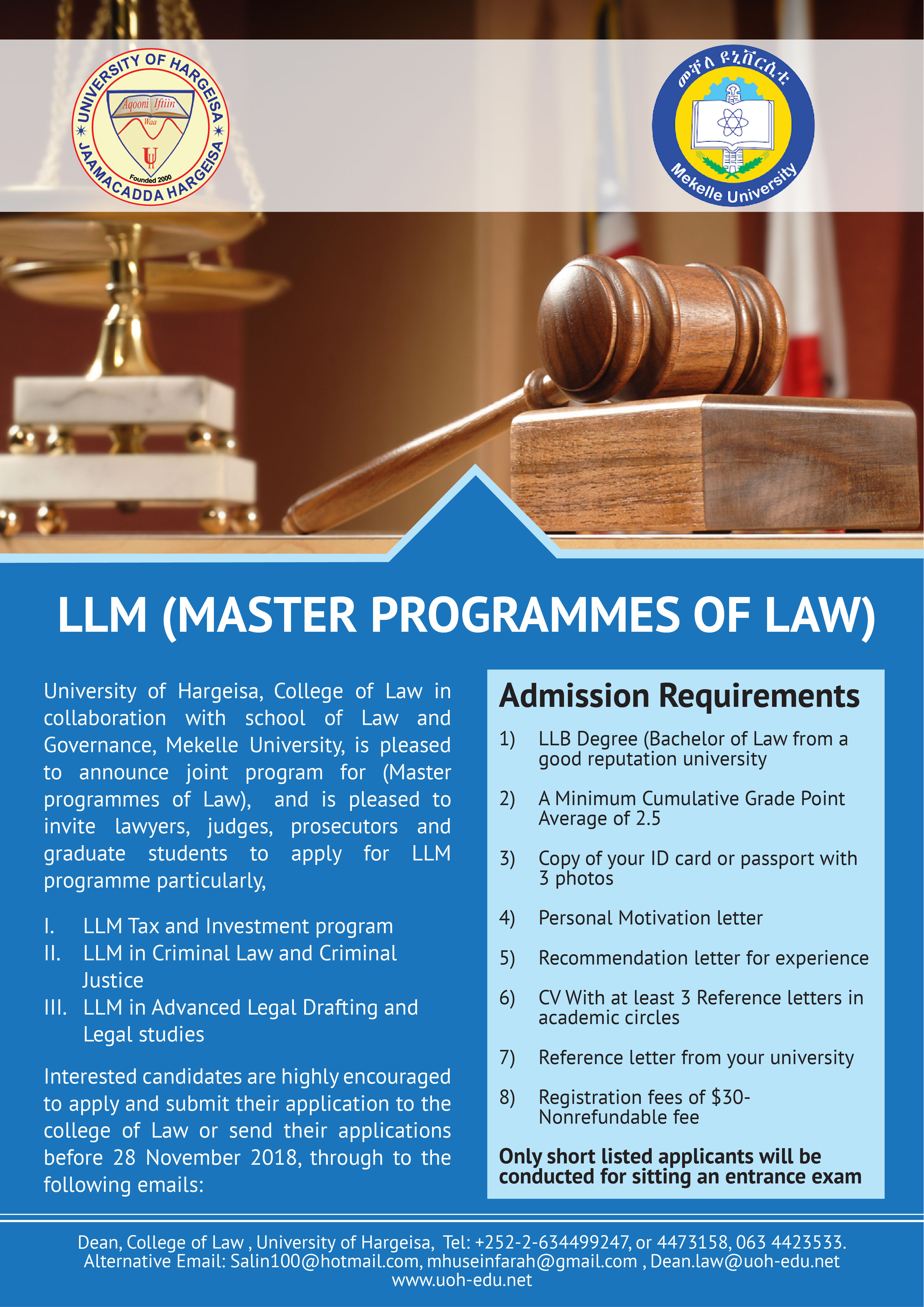 Joint Masters Programmes in Law - University of Hargeisa
